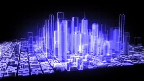 animação 3D de uma cidade holográfica ilustração royalty free