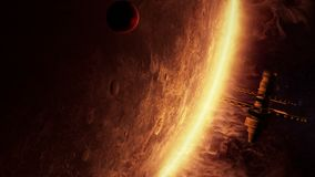 animação 3d de uma estação espacial estrangeira ilustração stock