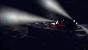 animação 3d de uma navio de guerra no oceano aberto na noite