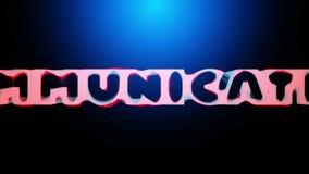 animação 3D de uma palavra uma COMUNICAÇÃO que revela de uma rede abstrata vídeos de arquivo