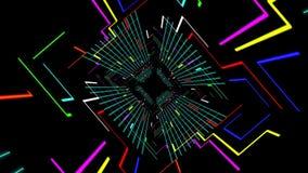 Animação 3d sem emenda do trajeto futurista digital do túnel com grade geométrica colorida da linha elétrica e do bloco ilustração royalty free