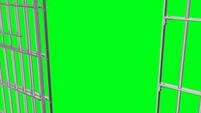 Animação da abertura e do closing a opinião lateral da estrutura da prisão video estoque