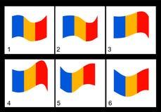 Animação da bandeira romena Imagens de Stock