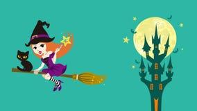 Animação da bruxa de Dia das Bruxas