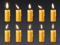 Animação da chama de vela As velas ardentes da cera romântica animado do feriado da luz de vela fecham-se acima do jantar morno d ilustração royalty free