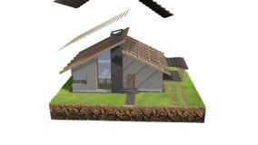 animação da construção de casa 3D ilustração royalty free