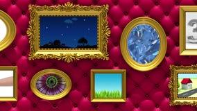 Animação da galeria fotográfica 3d Molduras para retrato do ouro no fundo vermelho luxuoso de estofamento Os vários vídeos estão  ilustração do vetor