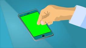 A animação da mão do ` s do homem que desliza o dedo no smartphone com imagens de vídeo verdes da tela HD contra o bokeh borrou a ilustração stock