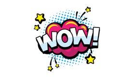 Animação da palavra do wow para publicar em blogs, fluir e seguir em redes e no vlog sociais em meios do Internet Discurso da ban ilustração do vetor