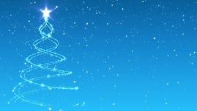 Animação da partícula da árvore de Natal no fundo nevado do inverno video estoque
