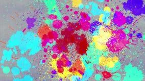 A animação da pintura da cor ou a tinta da aquarela que goteja e que salpica o papel empoeirado e criam um teste padrão colorido  ilustração royalty free