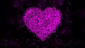 Animação da rede do plexo do símbolo do coração no fundo colorido com fluxo de partículas do plexo Laço sem emenda ilustração royalty free
