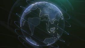 Animação da terra do planeta do pixel Animação do espaço com terra de explosão digital, fundo abstrato do mapa do mundo girar ilustração stock