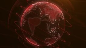Animação da terra do planeta do pixel Animação do espaço com terra de explosão digital, fundo abstrato do mapa do mundo girar ilustração royalty free