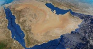 Animação da vista do espaço da península saudita no planeta da terra ilustração do vetor