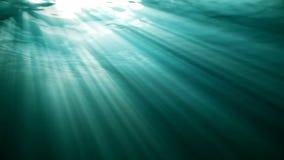 Animação dando laços de alta qualidade de ondas de oceano do underwater realístico Raios claros que brilham completamente vídeos de arquivo