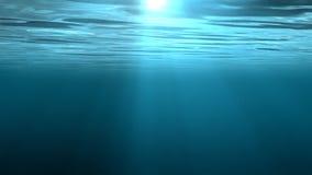 Animação dando laços de alta qualidade de ondas de oceano do underwater com plâncton de flutuação ilustração stock