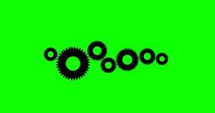 Animação das rodas denteadas e das rodas 4K com Alpha Channel verde ilustração royalty free