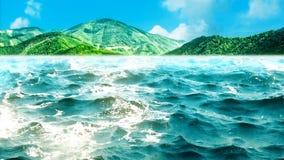 Animação de alta qualidade de ondas de oceano com as montanhas verdes bonitas no fundo looping video estoque