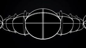 Animação de círculos brancos de cruzamento Animação abstrata de girar formas geométricas complexas em um fundo preto ilustração do vetor