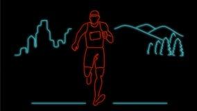 Animação de corrida do sinal de néon de corredor de maratona 2D ilustração do vetor