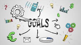 Animação de Digitas do conceito dos objetivos ilustração stock