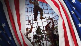 Animação de Digitas dos soldados militares que escalam a corda durante o curso de obstáculo filme