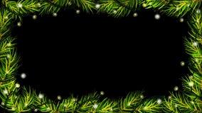 A animação de luzes de Natal com spruce (abeto) ramifica no fundo preto