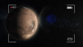 Animação de Marte O planeta Marte no espaço, girando ao redor sua linha central com protagoniza no fundo ilustração stock