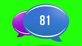 Animação de números crescentes em umas caixas coloridos de um bate-papo em um fundo verde 4K