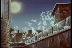 Animação de nove fantasmas do gato que cantam na cerca ilustração royalty free