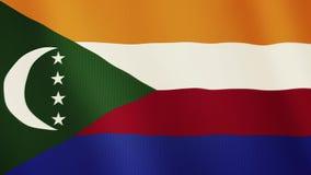 Animação de ondulação da bandeira de Comores Tela cheia Símbolo do país ilustração do vetor