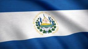 Animação de ondulação da bandeira de Salvador Tela cheia Bandeira de El Salvador Rendido usando o projeto e cores oficiais seamle imagem de stock