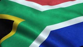 Animação de ondulação dando laços sem emenda da bandeira de África do Sul ilustração stock