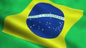 Animação de ondulação dando laços sem emenda da bandeira de Brasil ilustração do vetor