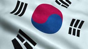 Animação de ondulação dando laços sem emenda da bandeira de Coreia do Sul ilustração royalty free