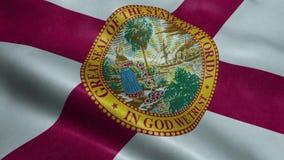 Animação de ondulação dando laços sem emenda da bandeira do estado da Flórida video estoque