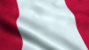Animação de ondulação dando laços sem emenda da bandeira do Peru ilustração royalty free
