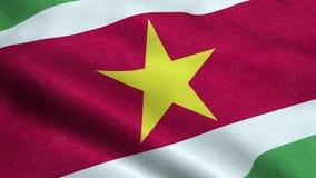 Animação de ondulação dando laços sem emenda da bandeira do Suriname ilustração do vetor