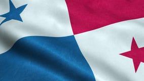 Animação de ondulação dando laços sem emenda da bandeira de Panamá ilustração do vetor