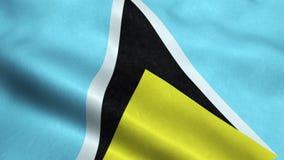 Animação de ondulação dando laços sem emenda da bandeira de St Lucia ilustração do vetor