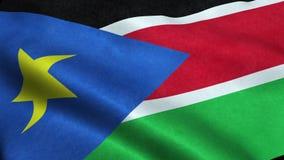 Animação de ondulação dando laços sem emenda da bandeira sul de Sudão ilustração royalty free