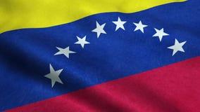 Animação de ondulação dando laços sem emenda da bandeira da Venezuela ilustração do vetor