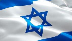 Animação de seda da bandeira do vídeo da bandeira de Israel que acena no vento Fundo judaico realístico da bandeira Israel Fl