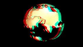 Animação de um globo de giro da terra, estereoscopicamente Imagem de Stock