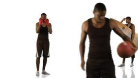 Animação de um menino étnico que faz esportes diferentes na definição alta filme