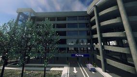 Animação de um parque de estacionamento moderno ilustração do vetor
