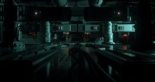 Animação dentro de uma nave espacial futurista/ficção científica