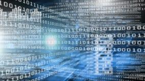 Animação digital conceptual que mostra a tecnologia do código binário ilustração stock