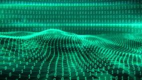 A animação do binário verde acena contra os dígitos 0 1 ilustração stock